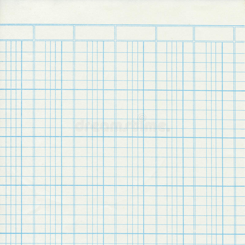 Blue vintage ledger or graph paper stock image