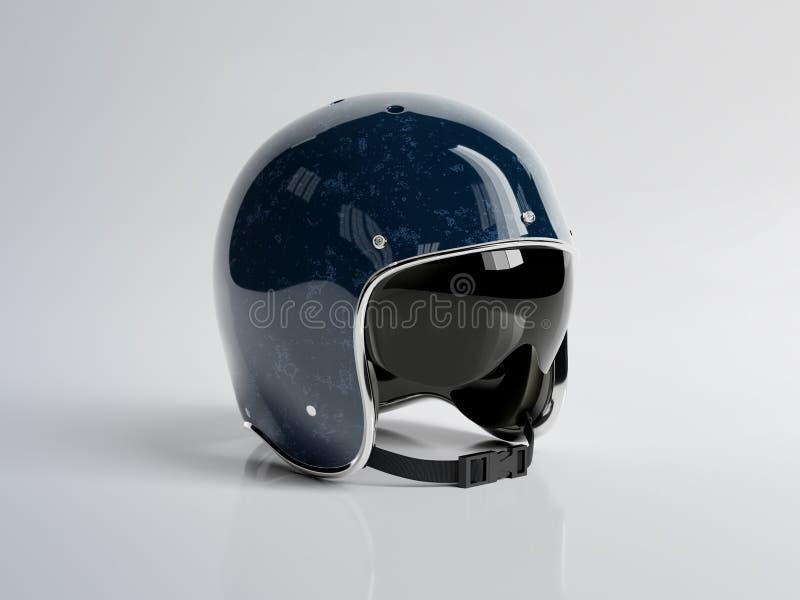 Blue vintage motorbike helmet isolated on white background Mockup 3D rendering. Blue retro vintage motorbike helmet isolated on white background Mockup 3D vector illustration