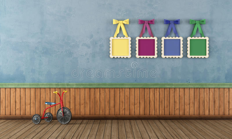Blue vintage play room with tricycle royalty free illustration