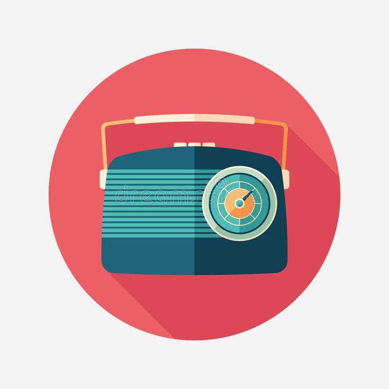 Blue vintage radio flat round icon with long shadows. vector illustration