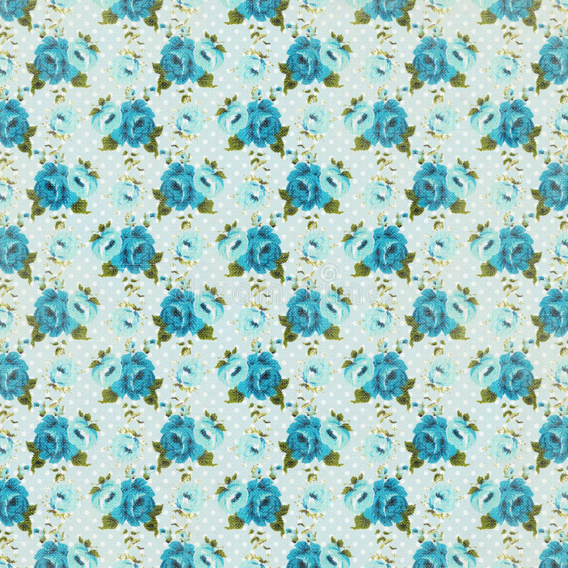 Blue Vintage retro rose floral background repeating pattern. Vintage retro rose floral background wallpaper repeating pattern royalty free stock images