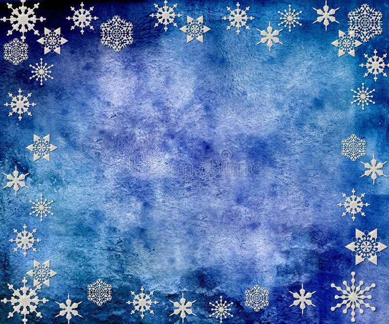 Blue Vintage Snowflakes Background Stock Illustration