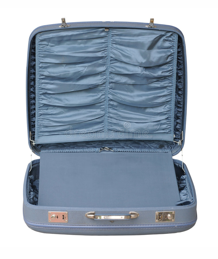 Blue Vintage Suitcase - opened royalty free stock photography