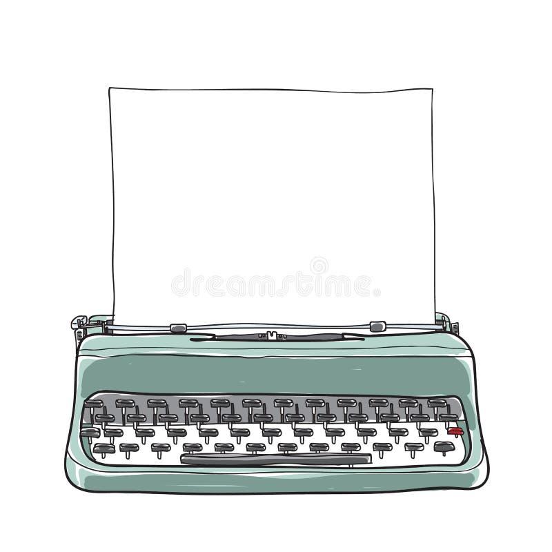 Blue vintage typewriter portable retro with paper hand drawn ve. Ctor art illustration stock illustration