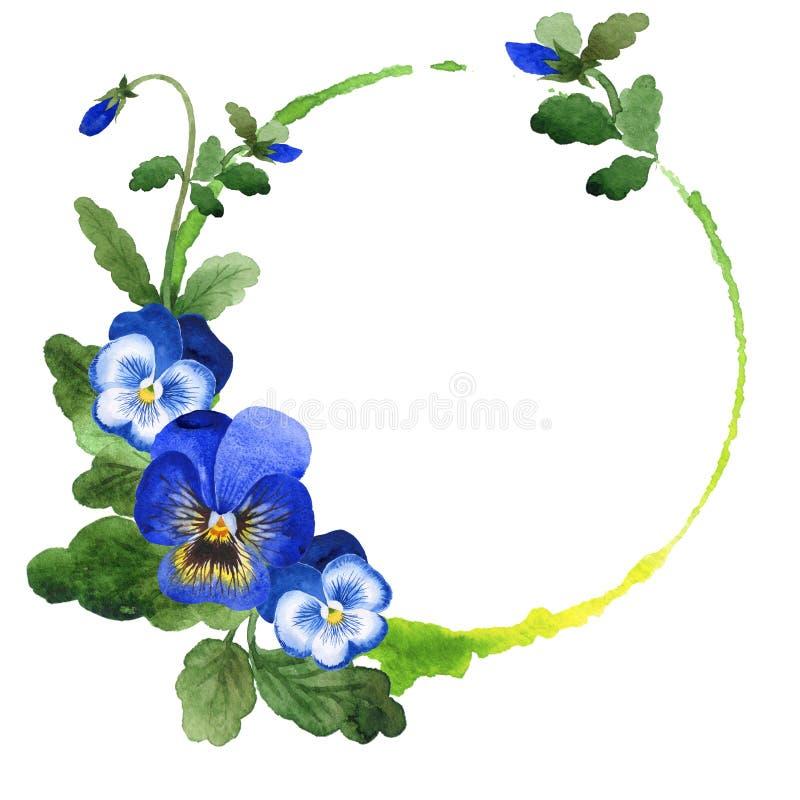 Blue viola frame. Floral botanical flower. Green leaf. Leaf plant botanical garden floral foliage. Frame border ornament stock illustration