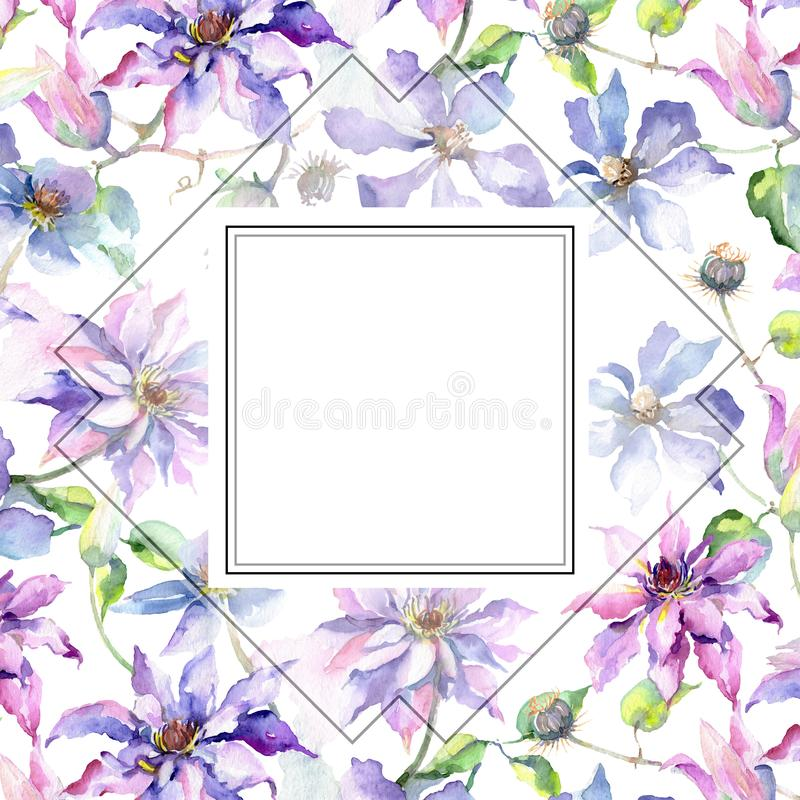 Blue violet clematis bouquet botanical flowers. Watercolor background illustration set. Frame border ornament square. stock illustration