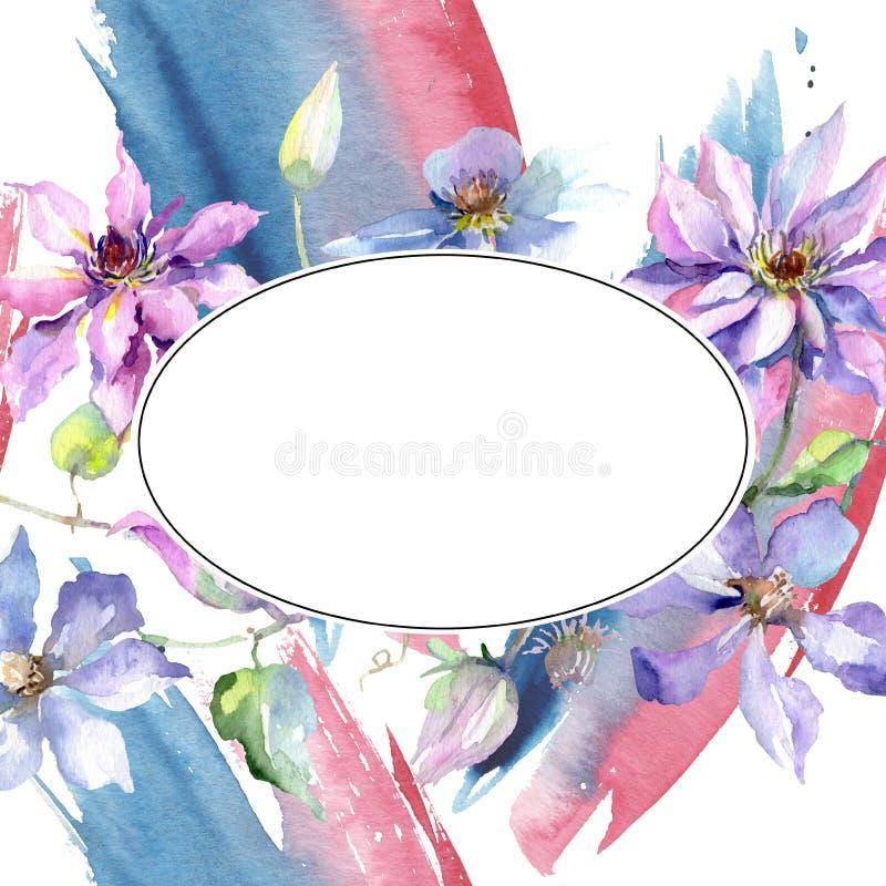 Blue violet clematis bouquet botanical flowers. Watercolor background illustration set. Frame border ornament square. vector illustration