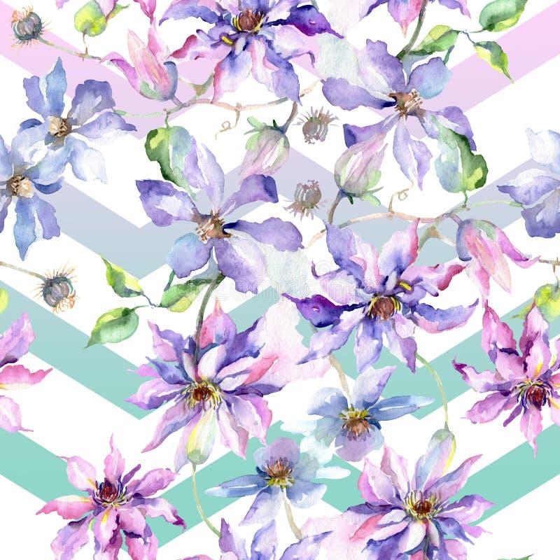 Blue violet clematis bouquet floral botanical flowers. Watercolor illustration set. Seamless background pattern. royalty free illustration