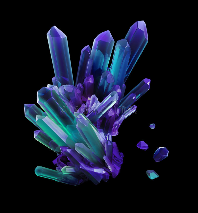 Free Blue Violet Crystals, Geological Shapes, 3d Object Royalty Free Stock Image - 58979396