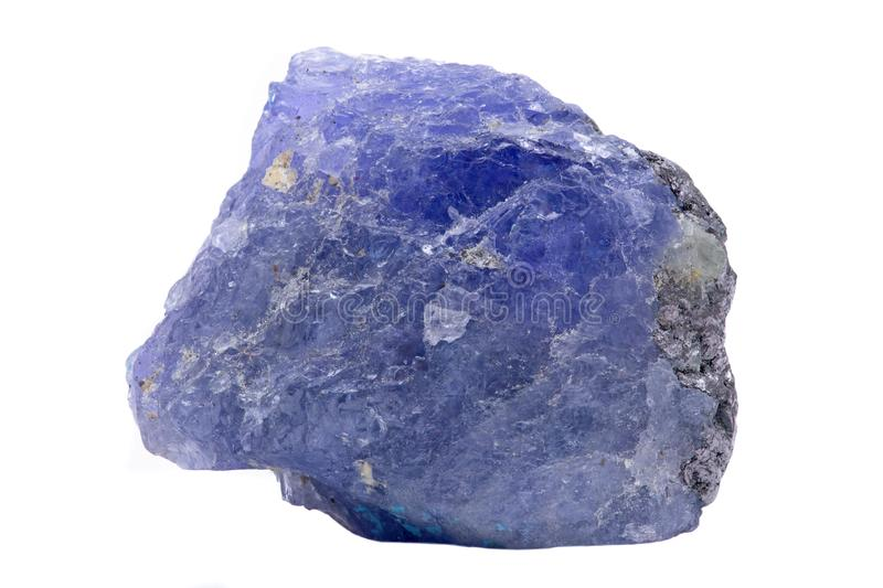 Blue violet extra quality rough Tanzanite from Tanzania isolated on white stock images
