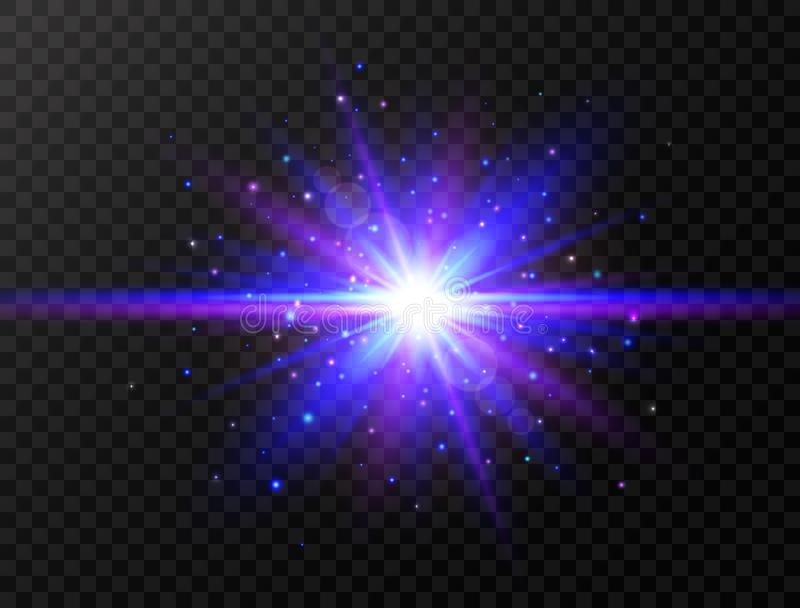 Blue and violet glowing effect. Star burst with beams and sparkles. Futuristic light on transparent background. Flash with rays an stock illustration