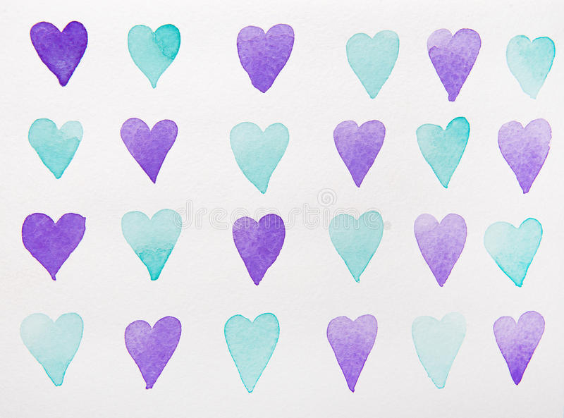 Blue and violet hearts watercolor royalty free illustration