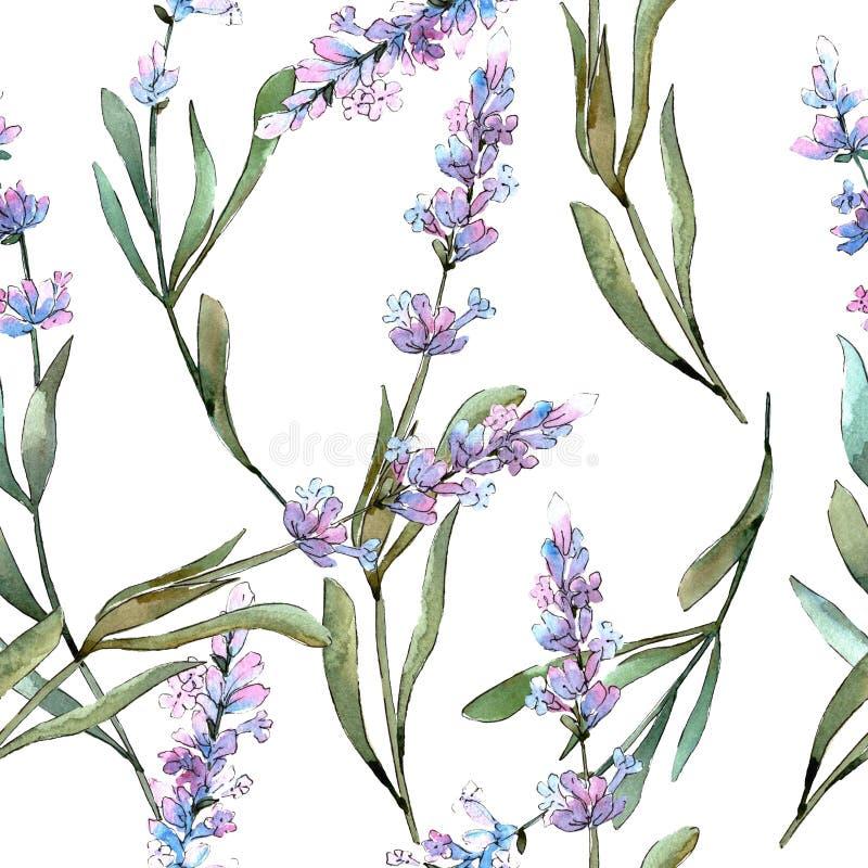 Blue violet lavender floral botanical flowers. Watercolor background illustration set. Seamless background pattern. stock illustration