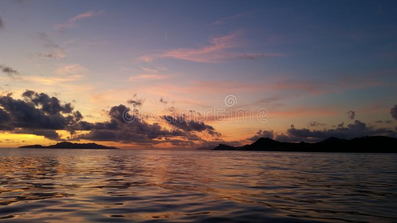 Blue-violet sunset on amazing adriatic see with blue sky and background for relax  royalty free stock photos