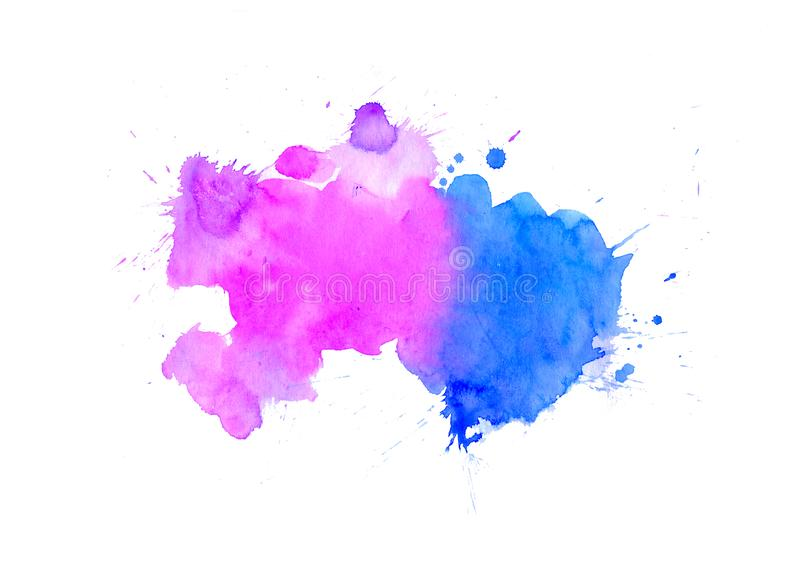 Blue violet watercolor blot background, raster illustration royalty free stock images