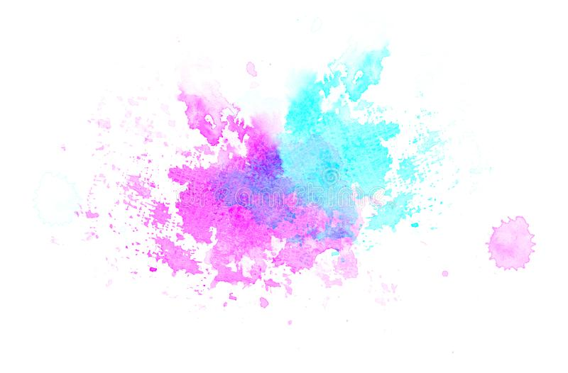 Blue violet watercolor blot background, raster illustration stock illustration
