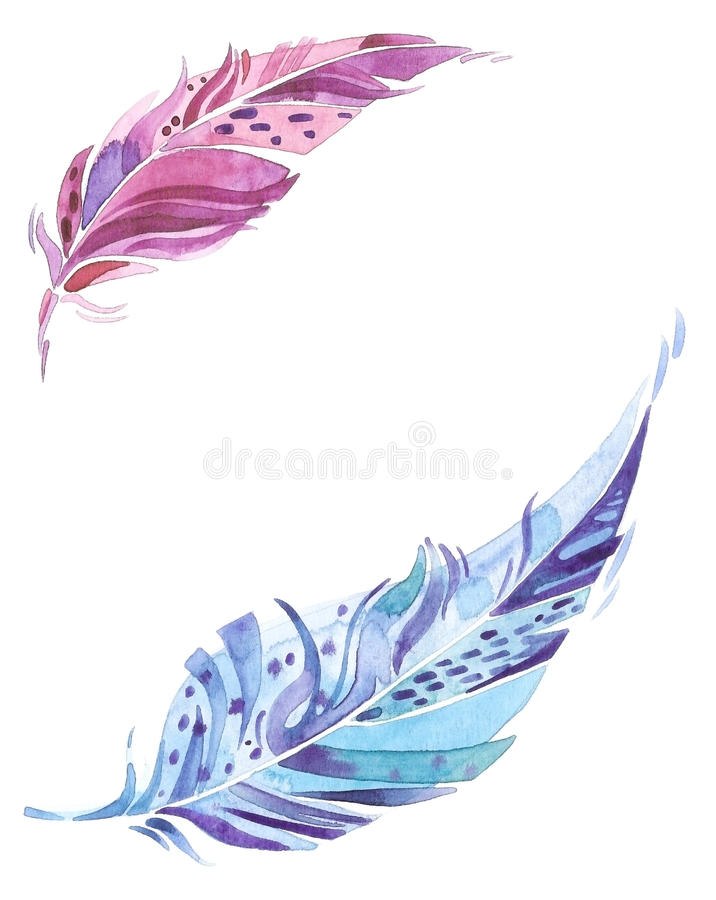 Blue and violet watercolor feathers with blank space between, greeting card or invitation layout royalty free illustration