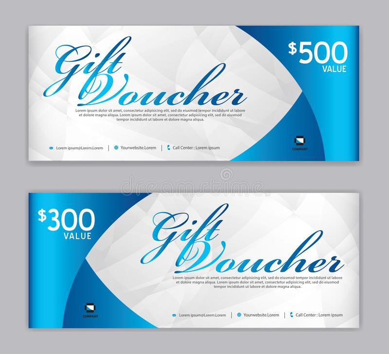 Gift Voucher template, Sale banner, Horizontal layout, discount cards, headers, website, blue background, vector illustration EPS. 10, ad, printing design royalty free illustration