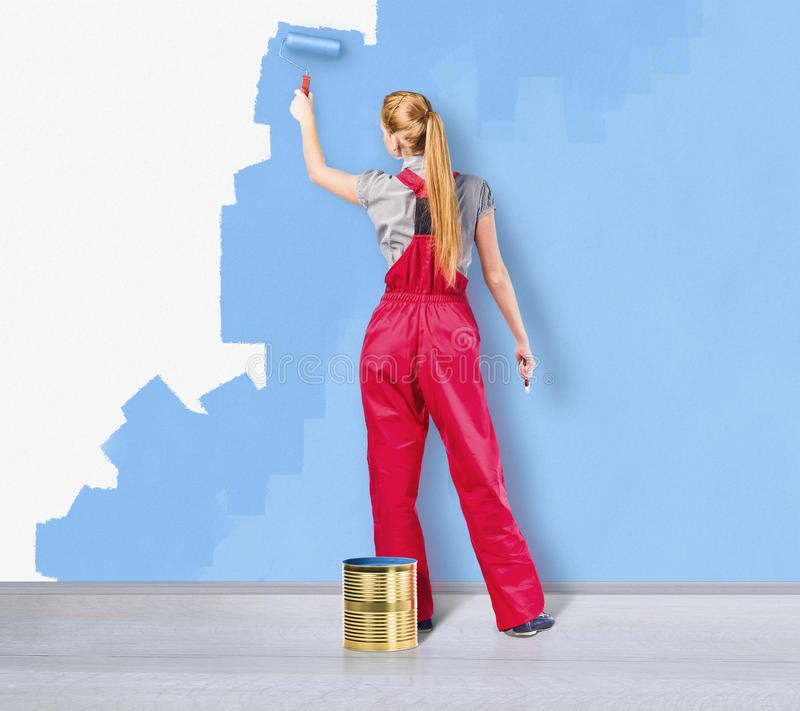 Download Blue wall stock photo. Image of paintbrush, girl, person - 27865306