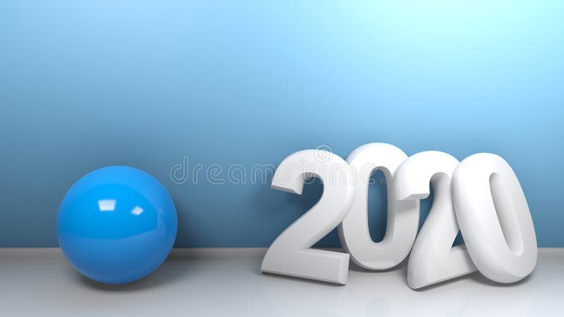 2020 at blue wall with blue sphere - 3D rendering stock illustration