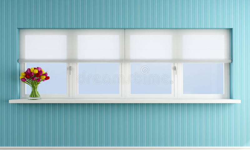 Download Blue Wall With Closed Window Stock Illustration - Image: 27084226