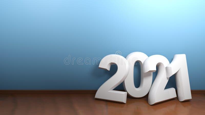 2021 at blue wall - 3D rendering stock illustration