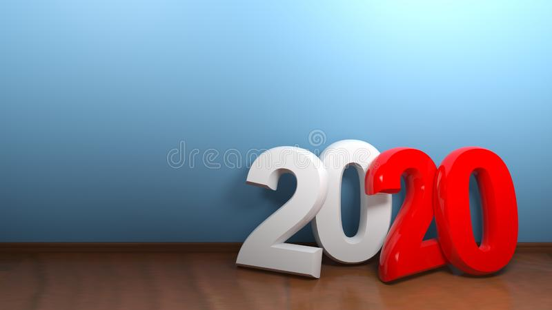 2020 at blue wall - 3D rendering royalty free illustration