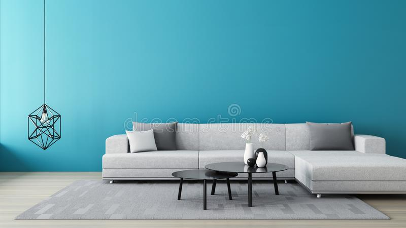 Blue wall living room / 3D render interior. Blue wall and living room / 3D render interior stock illustration