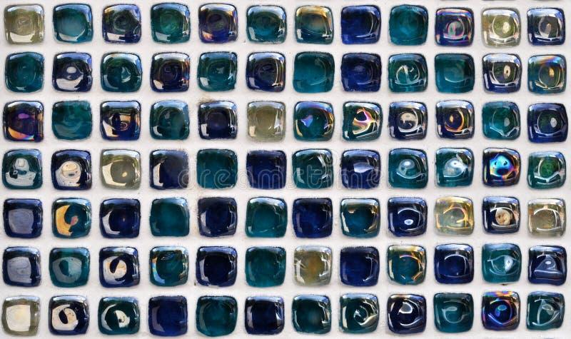 Blue wall mosaic tile stock image