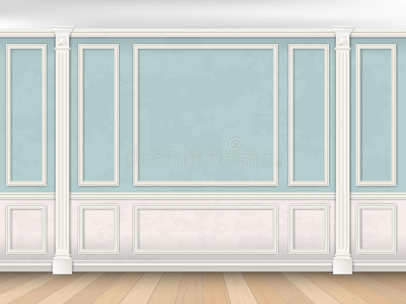 Blue wall with pilasters and white panel. Blue wall interior in classical style with pilasters, moldings and white panel. Architectural background vector illustration