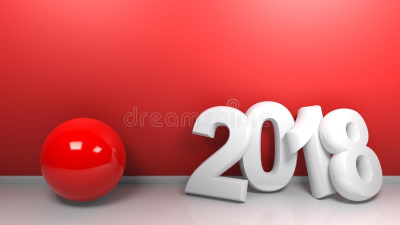 2018 at blue wall with red sphere - 3D rendering royalty free illustration