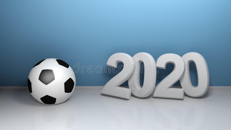 2020 at blue wall with soccer ball - 3D rendering illustration vector illustration