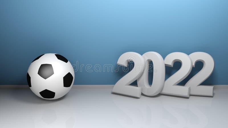 2022 at blue wall with soccer ball - 3D rendering illustration vector illustration