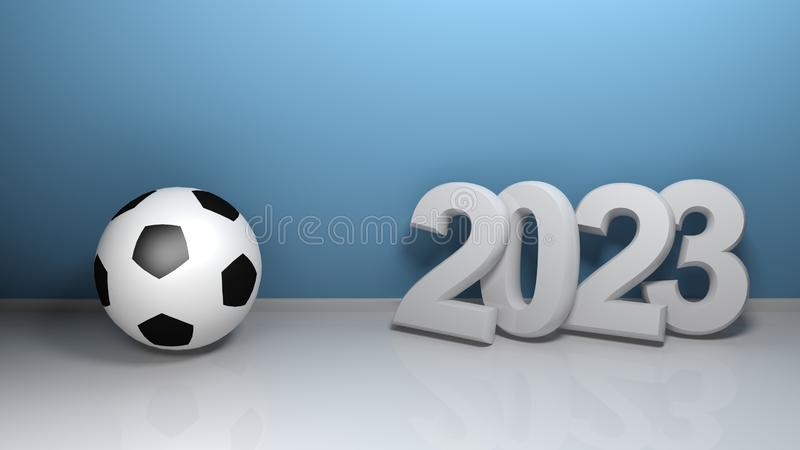 2023 at blue wall with soccer ball - 3D rendering illustration stock illustration