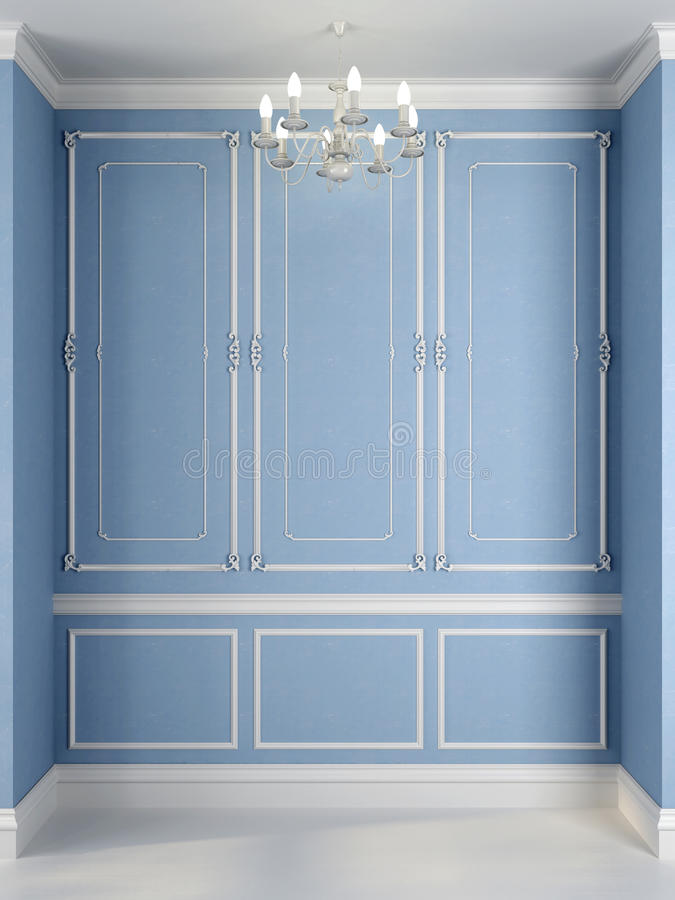 Blue wall with a white decor. Classical interior of a blue wall and a white decor royalty free stock image