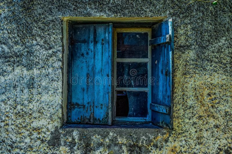 Blue, Wall, Window, House royalty free stock photos