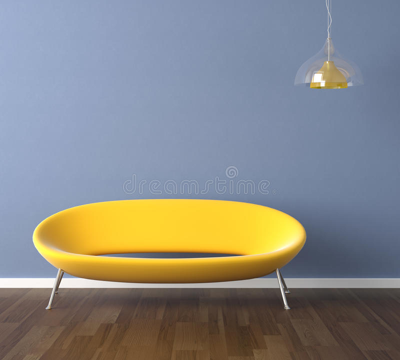 Blue wall with yellow couch. Interior design scene with a modern yellow couch and lamp on blue wall, copy space on the wall vector illustration