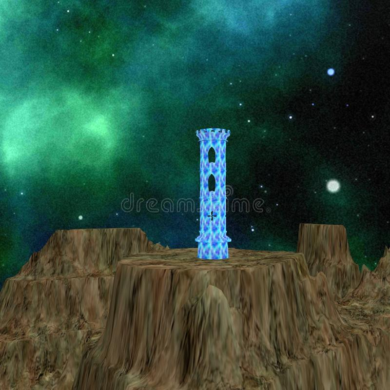 BLUE WATCH TOWER IN THE MOUNTAINS royalty free stock photo