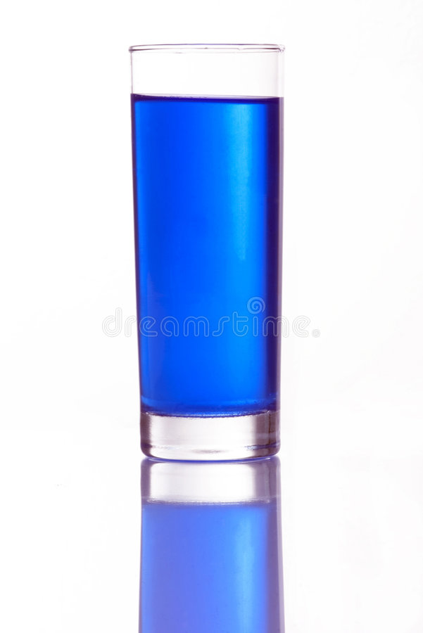 Blue water. Glas of blue water stock image