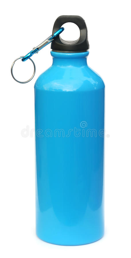 Blue water bottle. Over white background