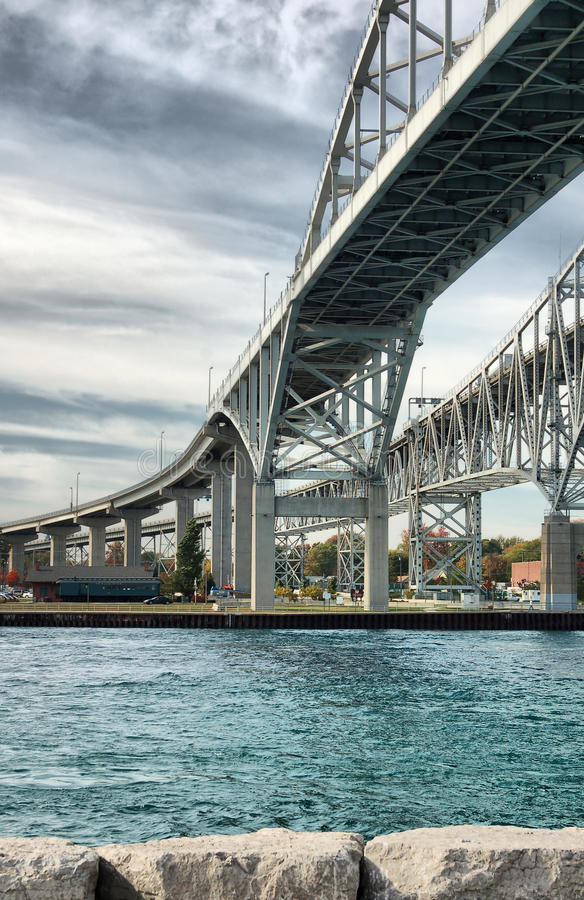 Blue Water Bridge, Sarnia, Canada. An image of the Blue Water Bridge that crosses the US-Canada border. This is a very important and busy bridge for cargo stock photography