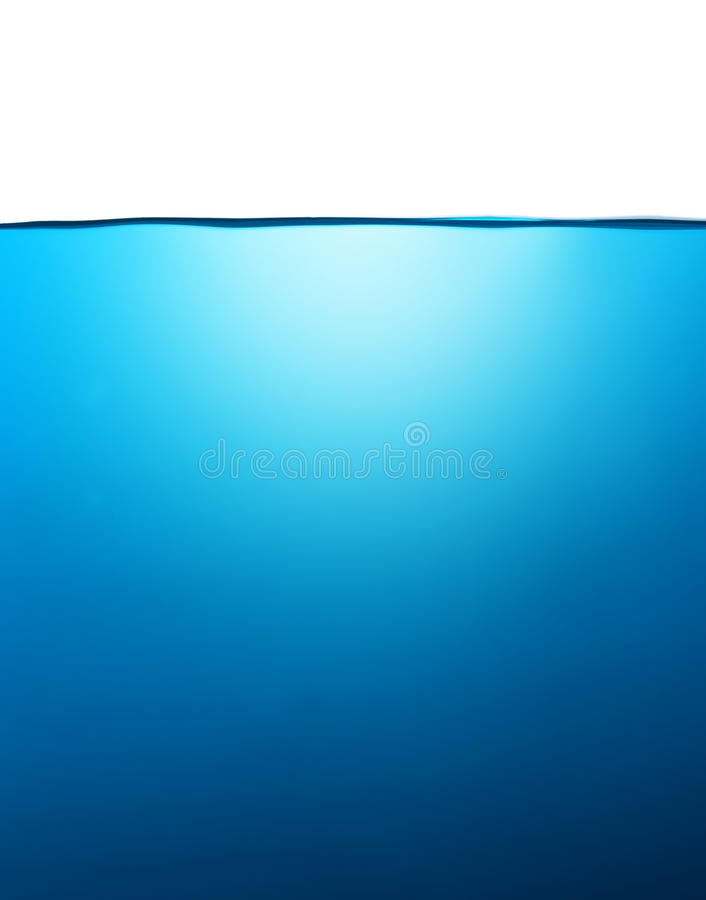 Blue water with deep. Isolated on white stock photos