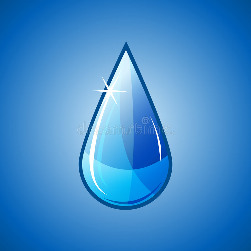 Blue water drop falling royalty free illustration