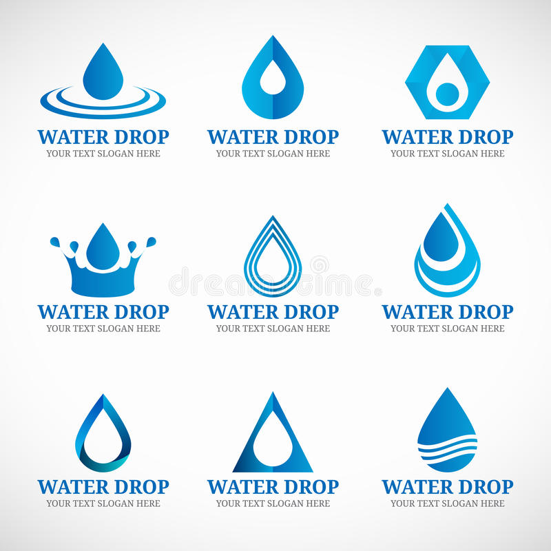 Free Blue Water Drop Logo Vector Set Design Stock Images - 64713024