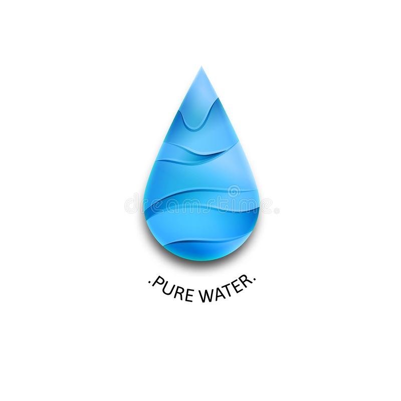 Blue Water Drop Logo with Waves. Template Vector Symbol Design. Pure Water Illustration Concept.  vector illustration