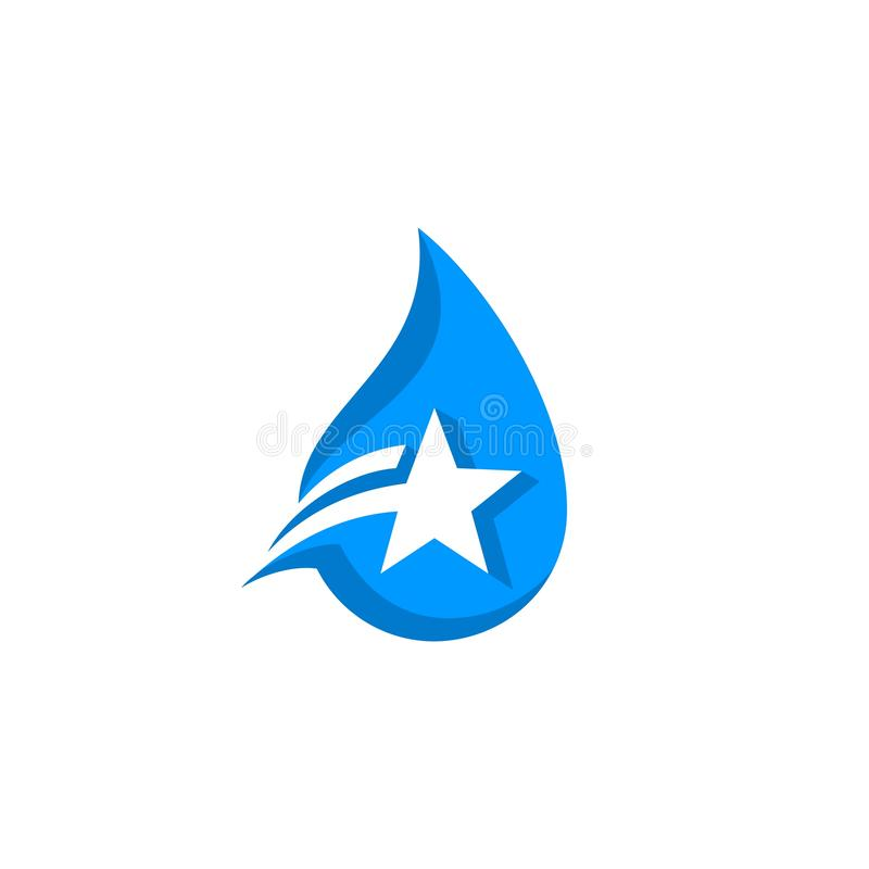 Water drop star logo. Blue water drop with negative space star vector illustration