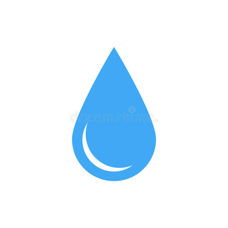 Blue water drop symbol. Simple flat vector icon isolated on white background vector illustration
