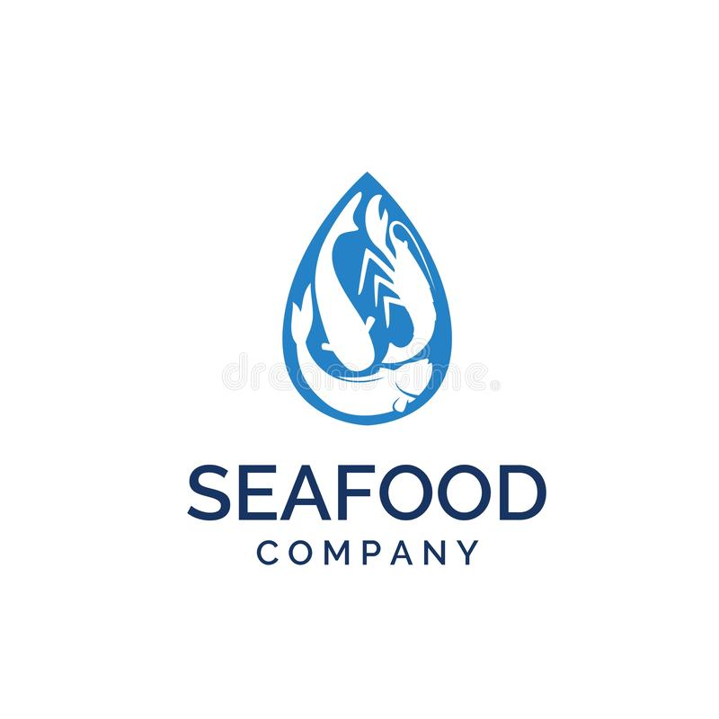 Blue water droplets with shrimp and fish logo design inspiration. Blue water droplets with shrimp and fish food logo design inspiration vector illustration