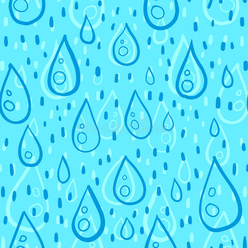 Blue water drops rainy vector seamless pattern royalty free illustration