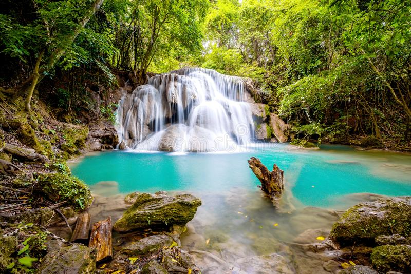 Blue water fall. In the forest royalty free stock image